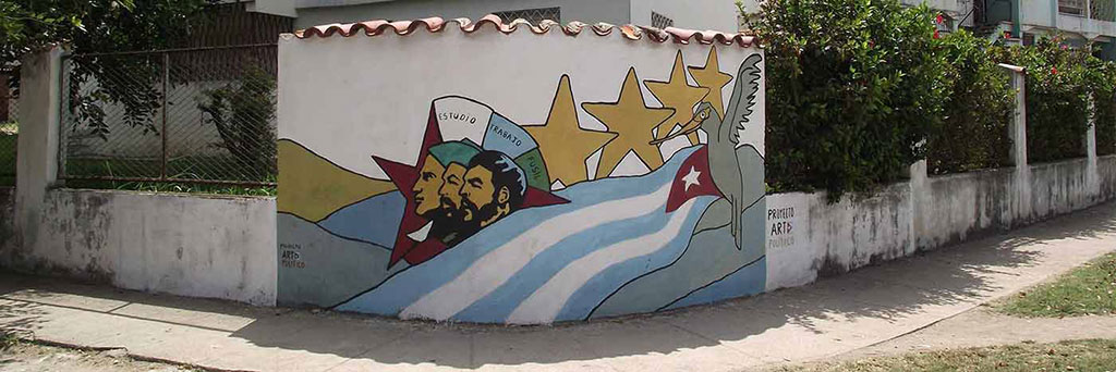 Wall painting of Cuban political youth organisation in Alamar 2012